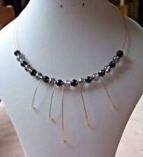 "17.5"" Smokey Quartz and Coated Quartz Gold Plated Memory Wire Necklace"