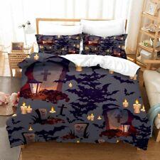 3D Tombstone Bat Duvet Cover Halloween Bedding Set Comforter Cover Pillow Case