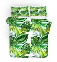 Tropical Monstera Leaves Parrot Toucan Flamingo Bedding Duvet Quilt Cover Set