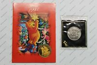 Walt Disney World 25th Anniv. Coin '71-'96 & 1995 Pooh Christmas card w/ coin