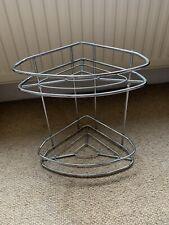 Modern 2 Tier Chrome Corner Shower Bath Free Standing Caddie Caddy Tray Basket