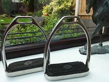 STAINLESS STEEL PIVOT STIRRUP IRONS with BLACK RUBBER TREAD - 4.5""