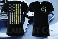 WOMENS THIN YELLOW LINE 911 DISPATCHER FIRE EMS POLICE DISPATCH FRAPHIC T-SHIRT