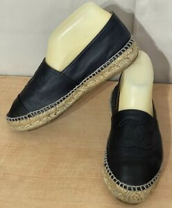 Chanel Black Lambskin Leather Cap CC Logo Espadrille Flats Sz.37 US 7