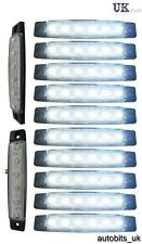 10 pcs White 12V 6 LED Side Front Marker Indicators Lights Lamp Truck Trailer