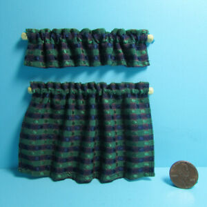 Dollhouse Miniature Cottage Curtain Set with Valance Blue Green Red BB70029