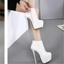 Fashion Womens High Heel Platform Ankle Boots Stilettos Patent Leather Big Shoes
