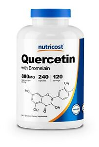 Nutricost Quercetin 880mg, 240 Vegetarian Capsules With Bromelain - 120 Servings