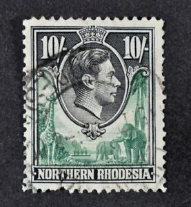 N. RHODESIA, KGVI, 1938, 10s. green & black value, SG 44, used condition Cat £40