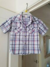 Boy's White Multi Checked Casual Shirt, Age 6/7 yrs, Height 122 cm, VGC