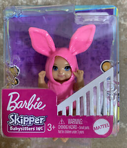 Barbie Doll Skipper Babysitters Inc Baby in Pink Bunny Outfit NIB