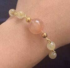 Rabbit Fur Natural Stone W Gold Hair Gemstone Bead Handmade Bracelet