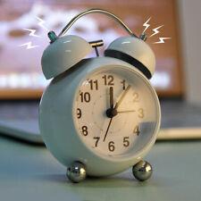 Silent Analog Alarm Clock Vintage Retro Classic Night Light Extra Loud Twin Bell
