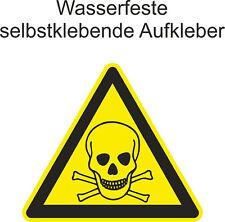 Hinweiß Aufkleber Toxic Warnaufkleber Warnung Gefahrengut Sticker ab 5cm Uv fest