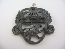 Antique Vintage Crown Lion Metal Pendant Jewelry Piece