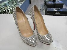 Christian Louboutin Alti Silver Spiked Heels, Size 40, USED