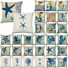 Sea Life Pillow Case Sofa Waist Cushion Cover Linen Waist Marine Ocean Decors