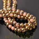 New 100pcs 6mm Round Glass Loose Spacer Beads Porcelain Beige Half Gold