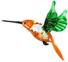Hummingbird Glass Figurine, Blown Art, Green and Orange Bird Ornament
