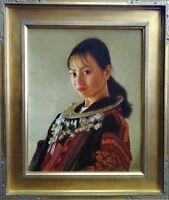 """Jie Wei Zhou Original Oil Painting on Canvas """"Jeannies's Eyes"""" Signed 16x20"""