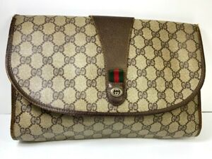 Authentic GUCCI GG PVC Leather Sherry Line Clutch Bag Y1029