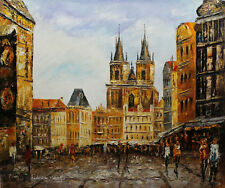 Original Prague Oil painting Wall art Deco On Canvas knife Hand Painted prg09