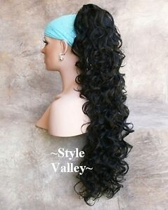 EXTRA EXTRA  LONG Black Ponytail Hairpiece Clip in on Curly Extension Hair Piece