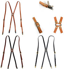 New Lot of 10 Mens Womens Leather Suspenders Retro Clip-On X-Back Braces Belts