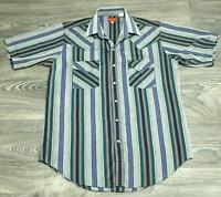 Vintage Ely Plains Mens Blue Pearl Snap Striped Western Cowboy Rustic Shirt M