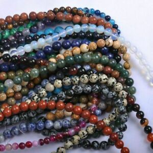 4/6/8/10/12MM Natural Gemstone Round Spacer Beads Jewelry Making Loose Beads