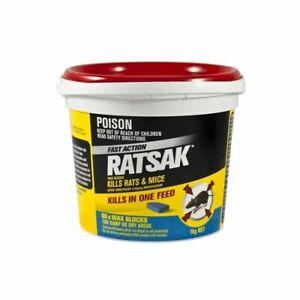 RATSAK Fast Action Wax Blocks 1kg (66 pcs) 0.05g/kg Bromadiolone Mouse Rat Bait