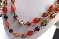 collier bijou ancien sur 2 rangées de perles  imitation pâte de verre  83