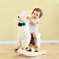Plush White Alpaca Wooden Rocking Horse Toys Kids Ride On Stuffed Animal Rockers