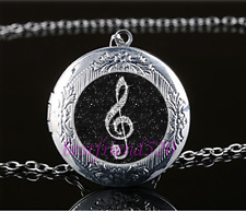 Black musical note Cabochon Glass Tibet Silver Locket Pendant Necklace