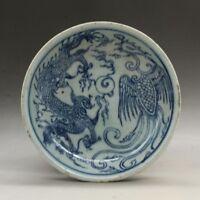 China antique Porcelain Qing guangxu Blue white painting dragon Phoenix plate