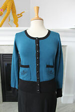 VOODOO VIXEN NWT Turquoise Black Rockabilly pinup Girl Cardigan Sweater 6 M