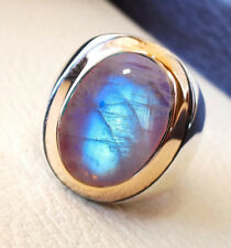 SOLID 925 SILVER FIRE RAINBOW MOONSTONE WEDDING TWO TONE MENS RING ALL SIZE