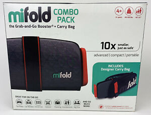 Mifold Grab and Go Car Booster Seat Slate Grey Combo Pack w/ Carry Bag Open Box