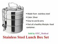 Stainless Steel Lunch Box Food Container 3 Tier Indian Tiffin Round Carrier Set