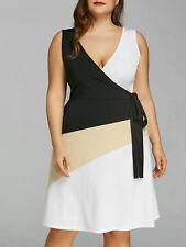 Plus Size XL-5XL Women Dress V Neck Sleeveless Low Cut Evening Party Dress