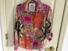 Woman's Cuno size medium lot of two pink multicolored cotton roll sleeve blouses