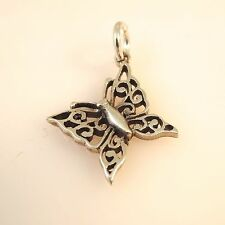 .925 Sterling Silver BUTTERFLY CHARM NEW Hangs fr Wing Pointed Pendant 925 BF08