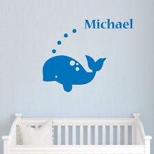 wall stickers custom name sea whale boy kids baby vinyl decal decor Nursery