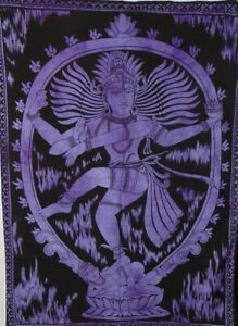 Tapestry Purple Tie-Dye Natraj Shive Poster Home Decor Bohemian Art Wall Hanging