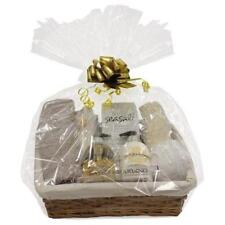 LARGE MAKE YOUR OWN HAMPER WITH GOLD BOW LINED WICKER BASKET 45x35x19.5cm
