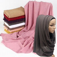 Women Ladies Chiffon Scarf Shimmer Crystal Chain Edged Muslim Scarves Hijab Wrap