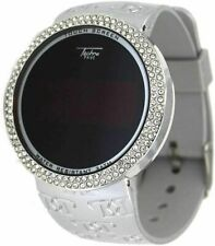 Iced Bling Hip Hop Lab Diamond Silver Digital Touch Screen Silicone Band  Watch