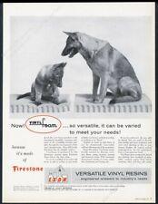 1956 German Shepherd & puppy photo Firestone Exon vinyl resin vintage print ad