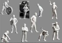 1/72 Resin Civilian Worker Driver 10 Figures Unassembled Unpainted WK007