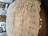 beige brown gold embroidered tablecloth 8 napkins